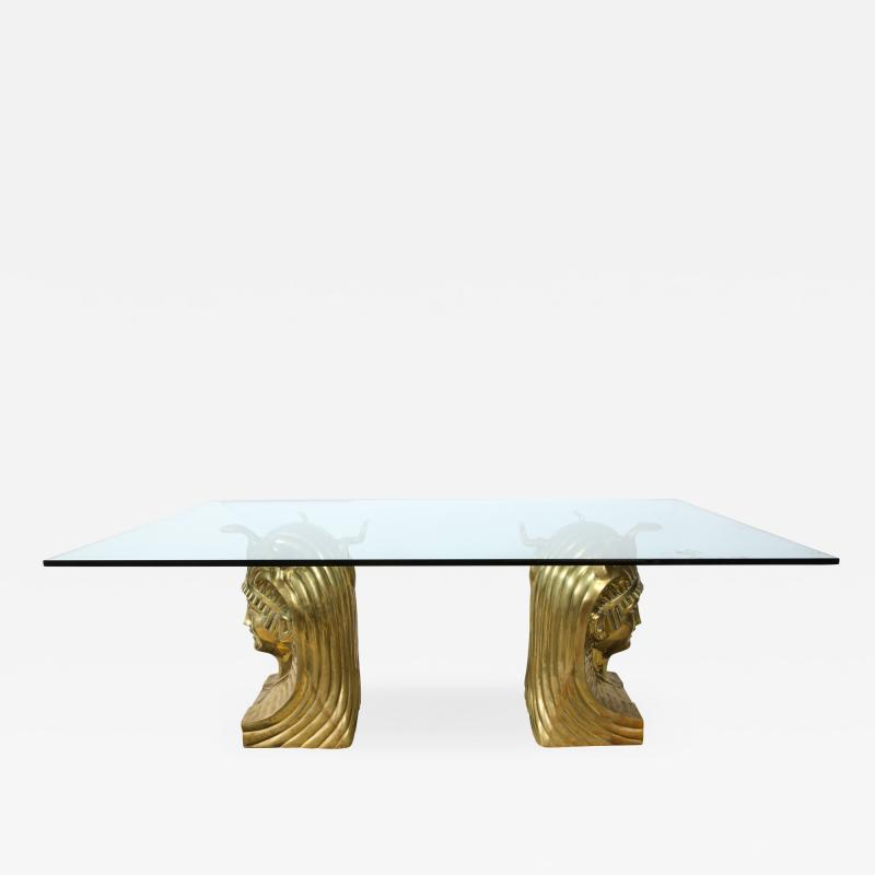 Superb Bronze Pharaoh Head Dining Table