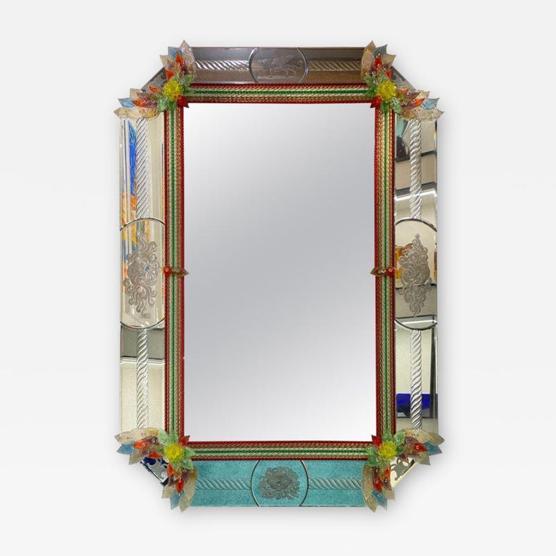 Superb Venetian Multicolor Murano Glass Mirror