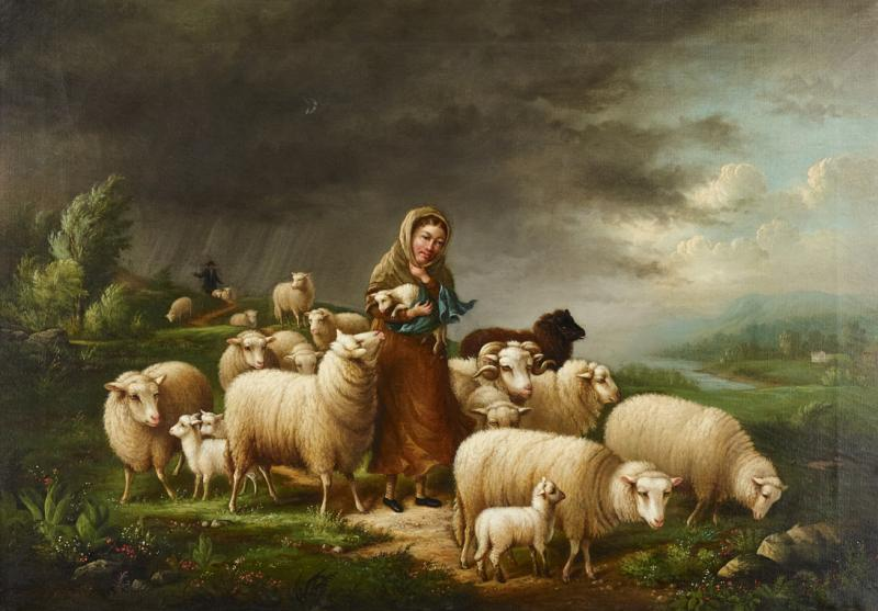 Susan Waters A Shepherdess and her Flock by Susan Waters