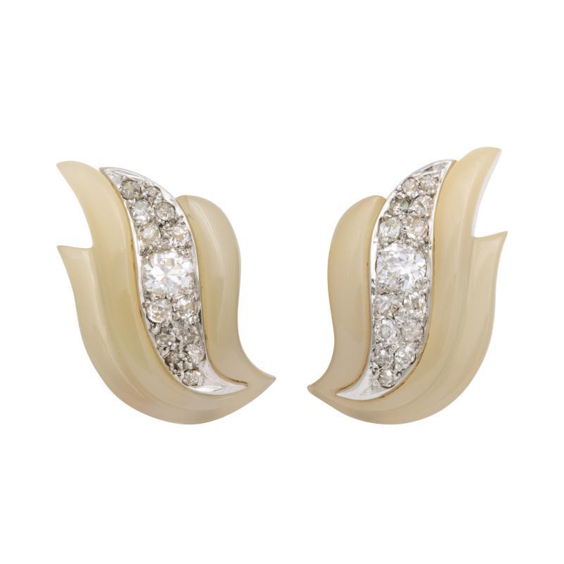 Suzanne Belperron Carved Agate Diamond Earrings by Suzanne Belperron