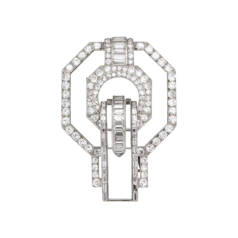 Suzanne Belperron Rock Crystal Diamond Brooch by Suzanne Belperron