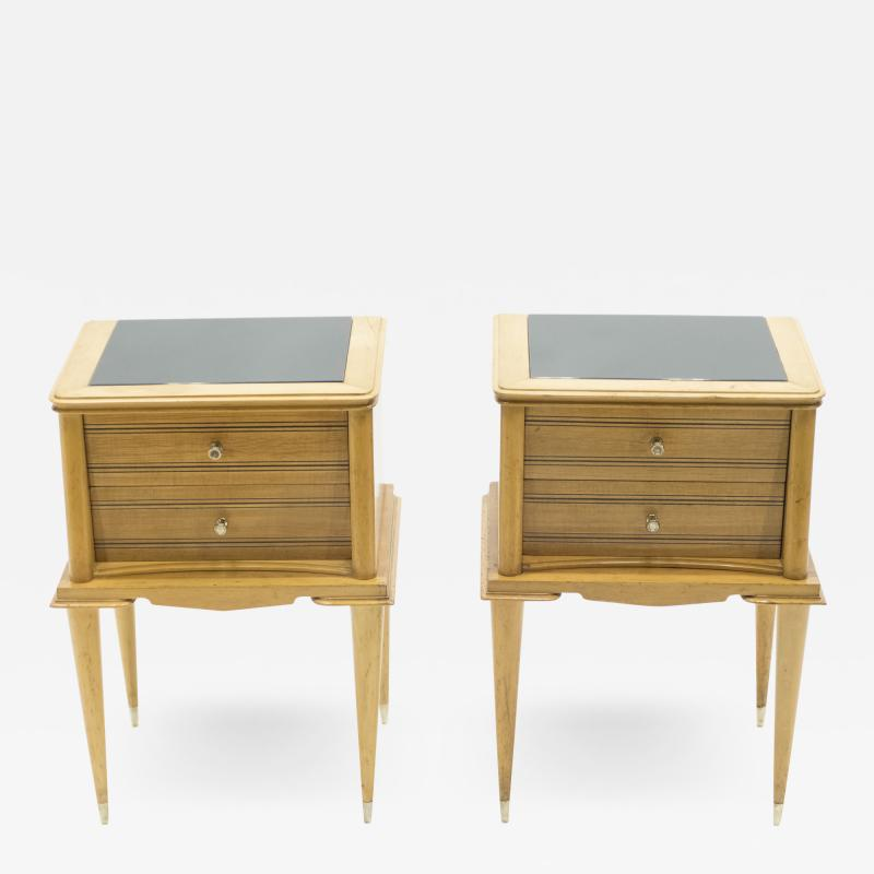 Suzanne Guiguichon French sycamore Night Stands 2 drawers Attr Suzanne Guiguichon 1950s