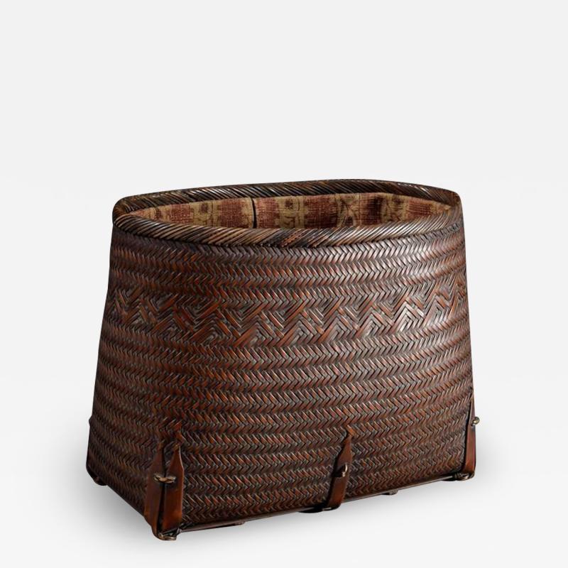 Suzuki Gengensai Japanese Hand Basket with Brocade Interior by Suzuki Gengensai