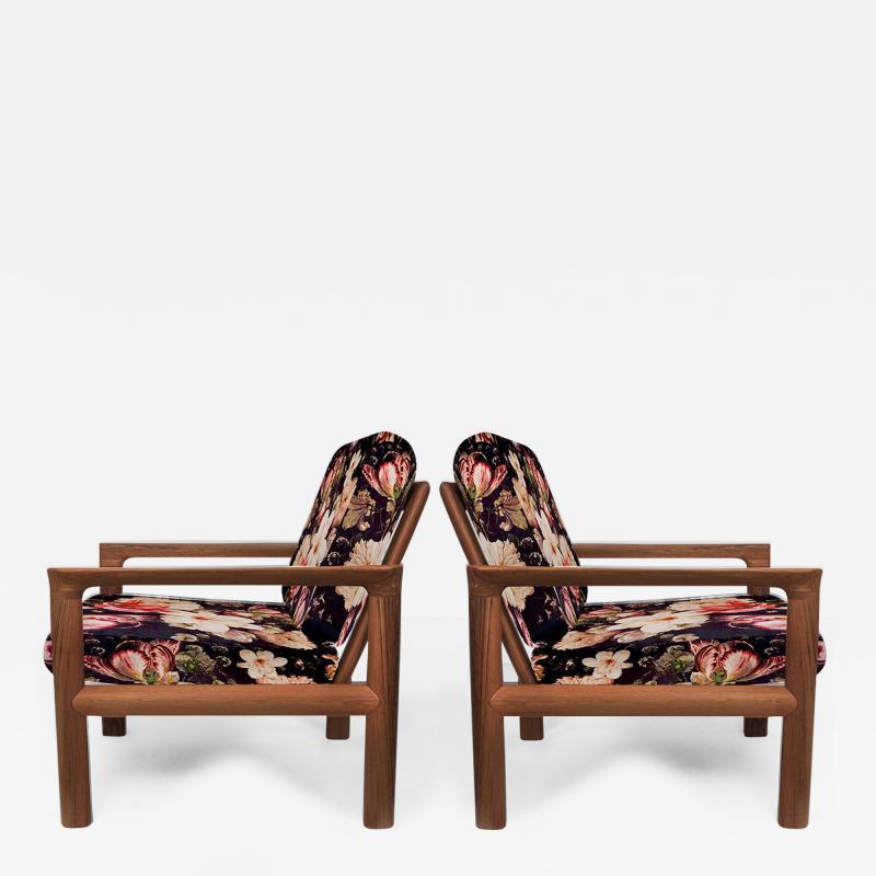 Sven Ellekaer Pair of New Velvet Floral Upholstered Sculptural Easy Chairs by Sven Ellekaer