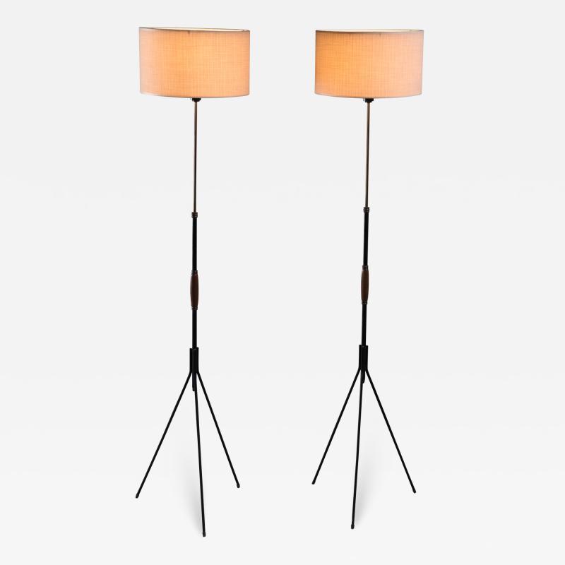 Svend Aage Holm S rensen Pair of Danish Modern height adjustable floor lamps
