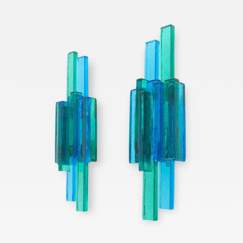 Svend Aage Holm S rensen Pair of blue wall lamps designed by Svend Aage Holm S rensen 1960s