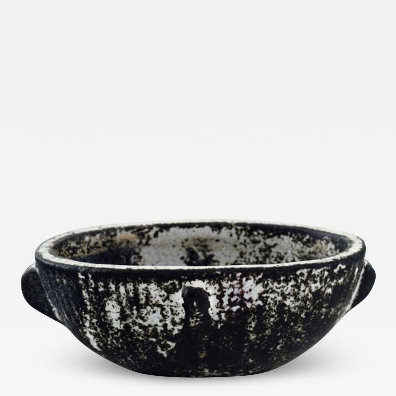 Svend Hammersh i Hammershoj Bowl in glazed stoneware Beautiful gray black double glaze