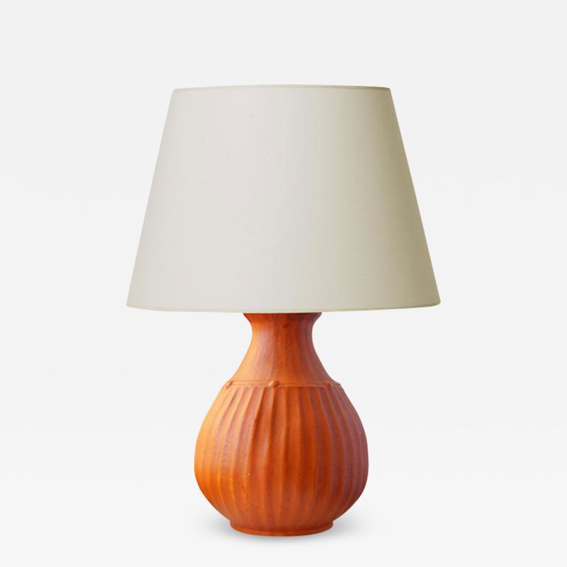 Svend Hammershoj Organically Modeled Table Lamp in Rare Orange Glaze by Sven Hammershoi
