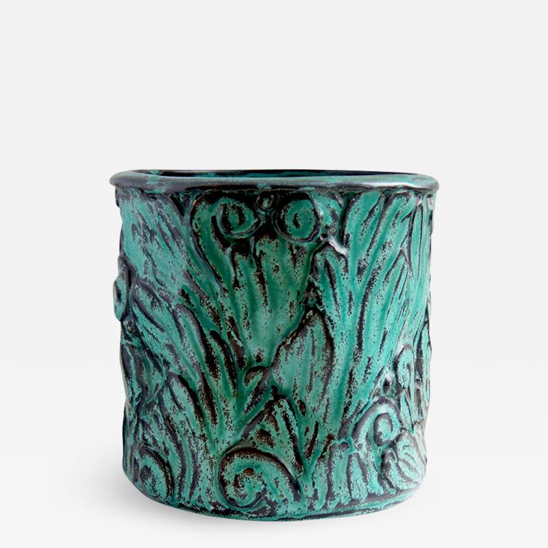 Svend Hammershoj Vase with Energetic Acanthus Leaves in Relief by Svend Hammershoi