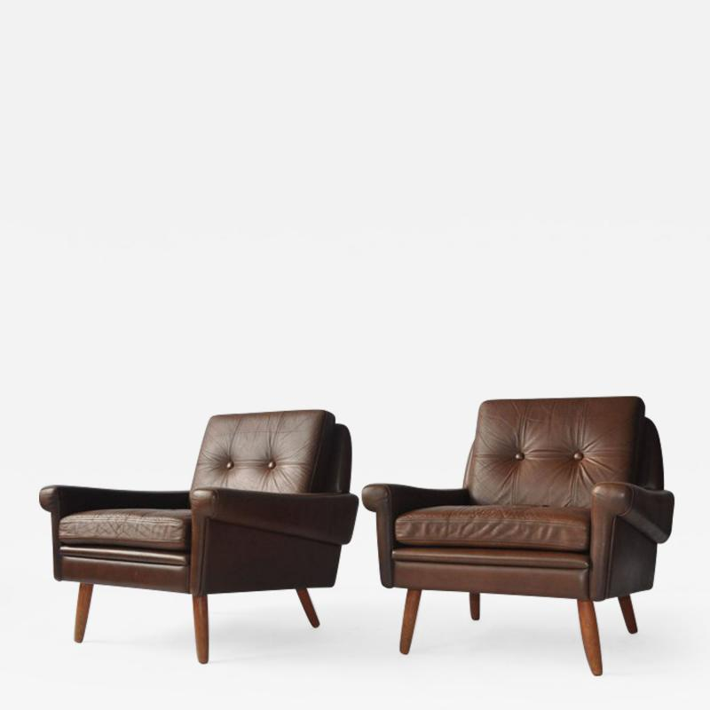 Svend Skipper Pair of Svend Skipper Leather Lounge Chairs