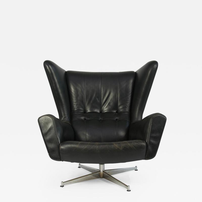 Svend Skipper Svend Skipper Leather Lounge Chair and Ottoman