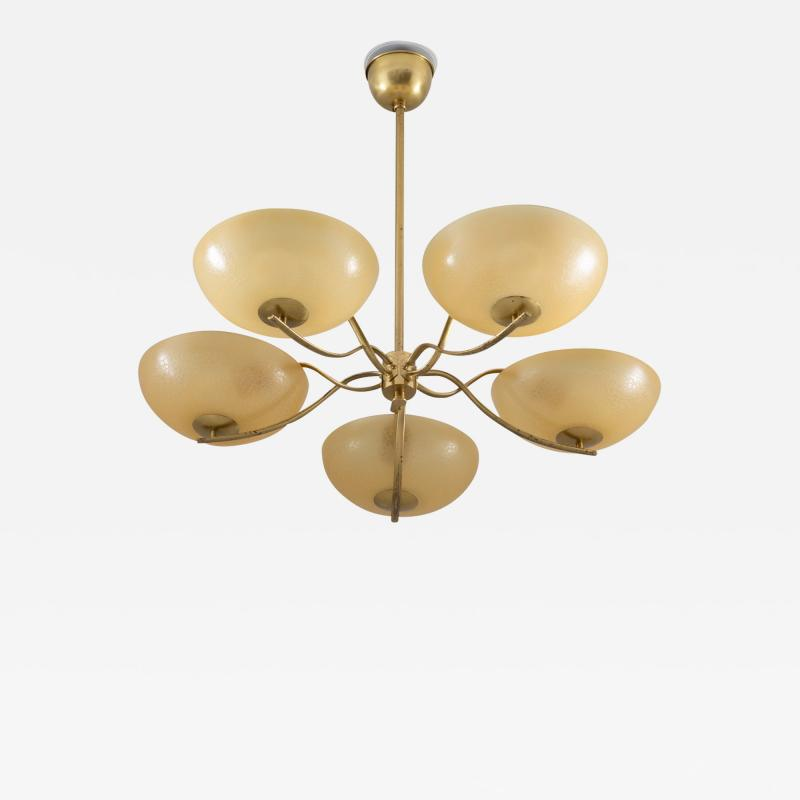 Swedish Art Deco Chandelier in Brass and Glass