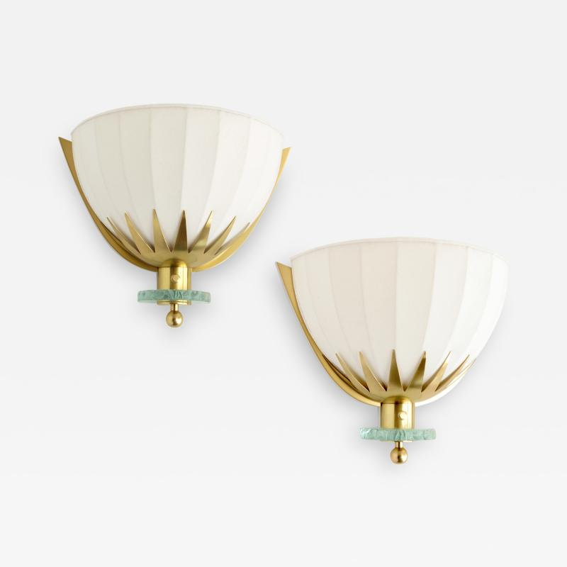Swedish Art Deco Scandinavian Modern brass and glass sconces with fabric shades