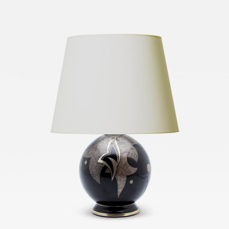 Swedish Art Deco Table Lamp in Opaline Glass with Silver Decoration