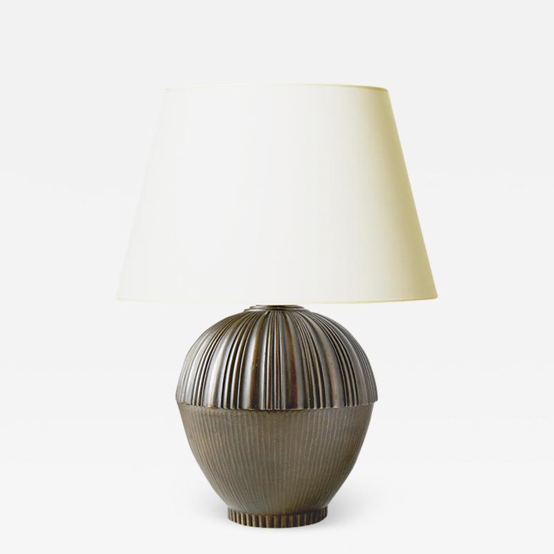 Swedish Art Deco Table Lamp with Textured Acorn Form