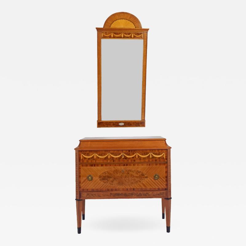 Swedish Entryway Intarsia Mirror Chest 19th century