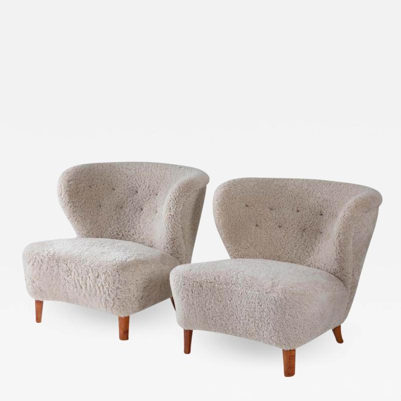 Swedish Lounge Chairs in Sheepskin by G sta Jonsson 1940s