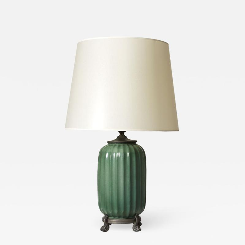 Swedish Modern Classicism table lamp on pewter stand