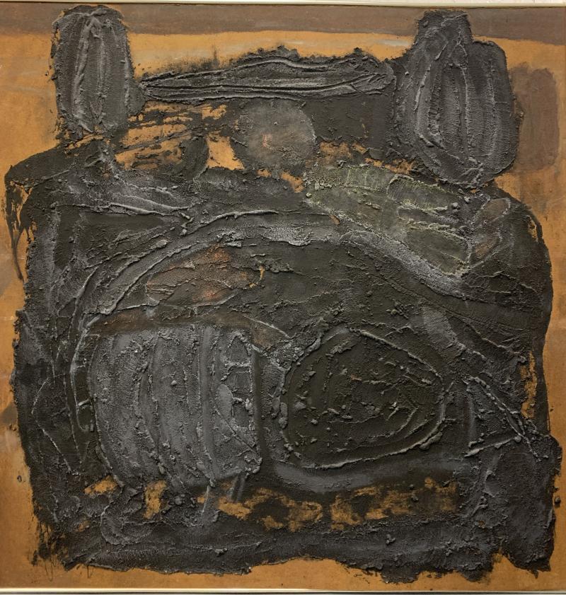 Sylvia Rutkoff 1960s Art Brut Abstract Impasto Painting Vietnam Mid Century NYC