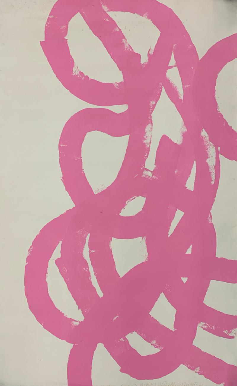 Sylvia Rutkoff 1960s Pink Abstract Abstract Painting NYC Brooklyn Museum Artist