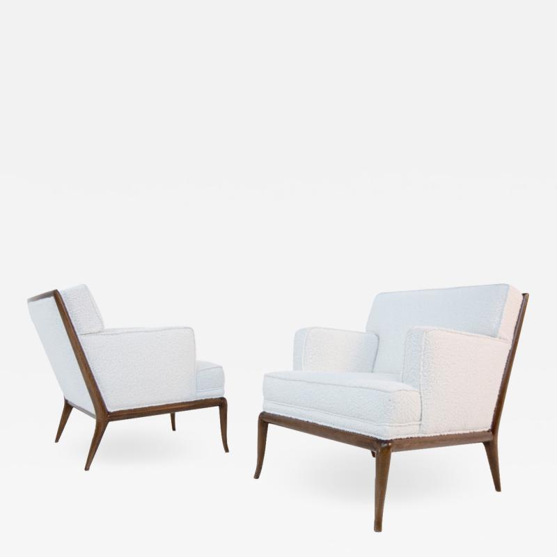 T H Robsjohn Gibbings Pair of Lounge Chairs by T H Robsjohn Gibbings in white boucl 1950s