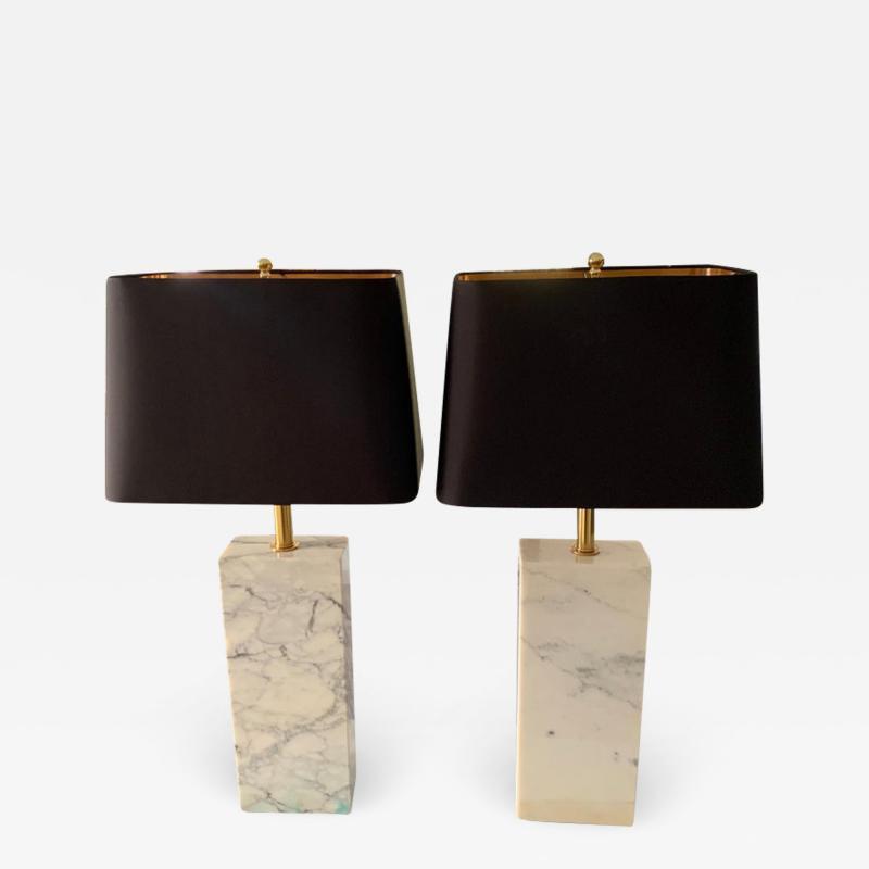 T H Robsjohn Gibbings Pair of T H Robsjohn Gibbings Marble and Brass Lamps with Shades