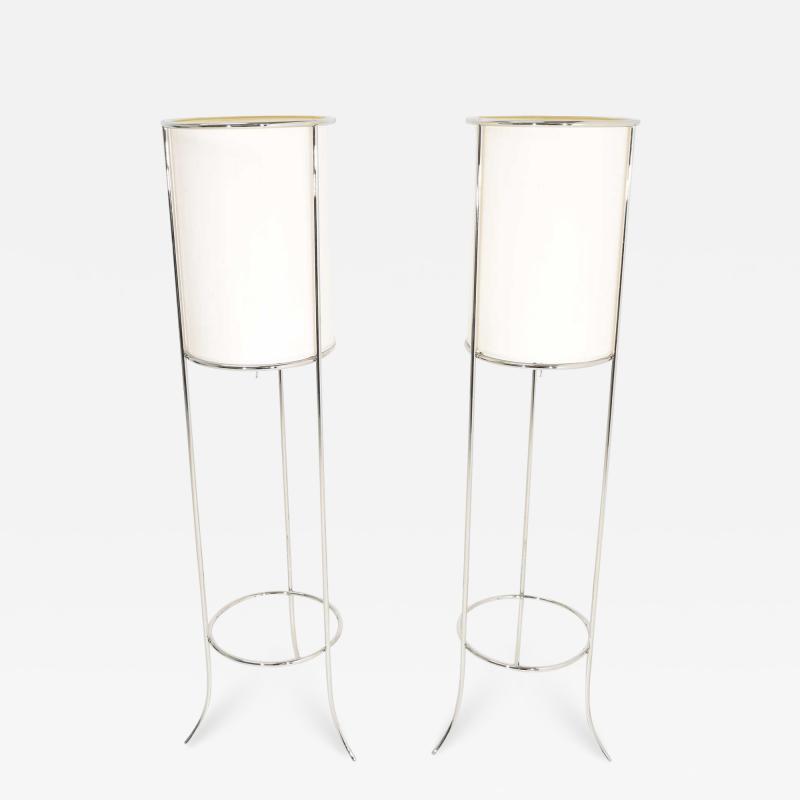T H Robsjohn Gibbings Pair of Tripod Nickel Floor Lamps by T H Robsjohn Gibbings for Hansen