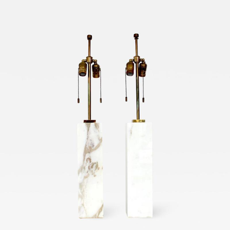 T H Robsjohn Gibbings T H ROBSJOHN GIBBINGS CALCUTTA GOLD MARBLE PAIR OF TABLE LAMPS