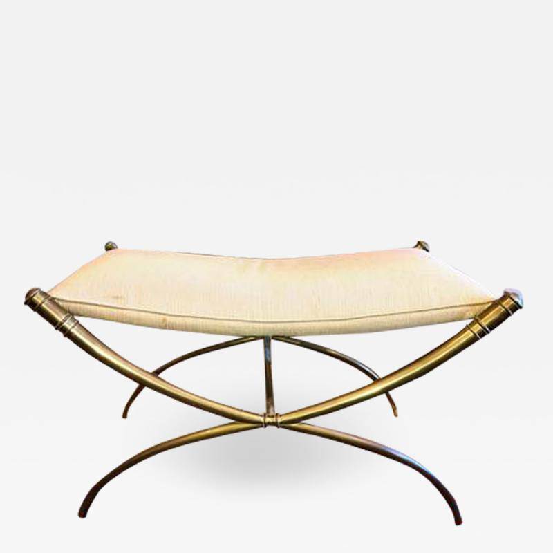 T H Robsjohn Gibbings T H Robsjohn Gibbings Custom Brass Curule Bench for the Kandell Residence