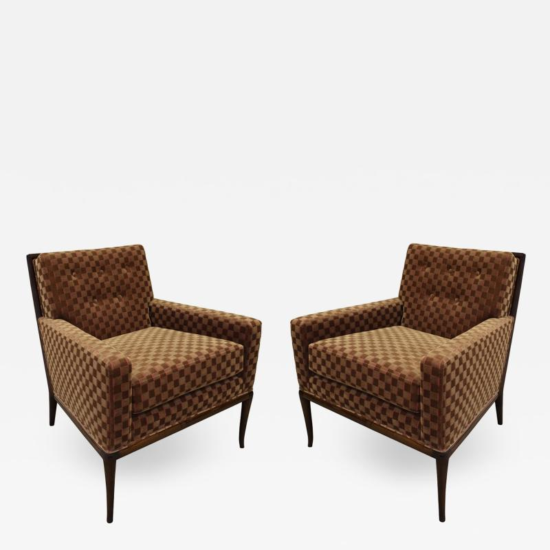 T H Robsjohn Gibbings T H Robsjohn Gibbings Elegant Pair of Club Chairs 1950s