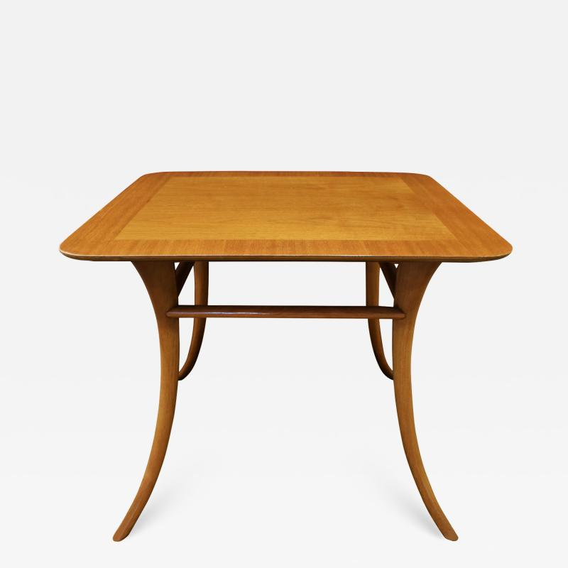 T H Robsjohn Gibbings T H Robsjohn Gibbings End Table In Walnut with Klismos Legs 1956 Signed