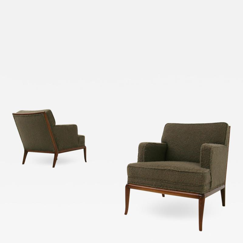 T H Robsjohn Gibbings T H Robsjohn Gibbings pair of midcentury armchairs in boucl fabric brown 1950