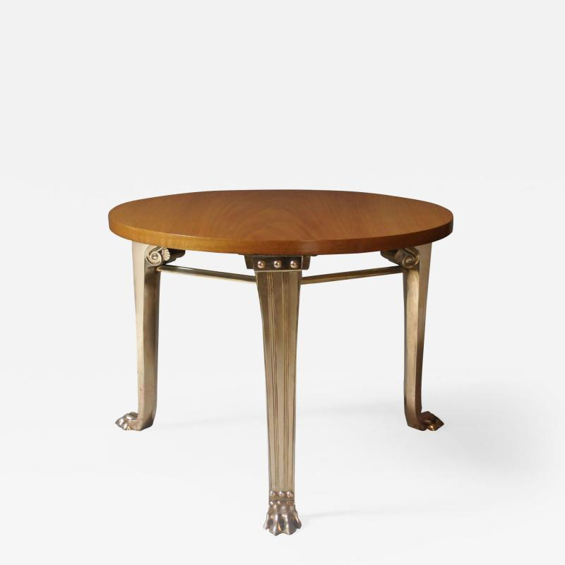 T H Robsjohn Gibbings WALNUT TABLE WITH BRONZE LEGS DESGINED BY T H ROBSJOHN GIBBINGS