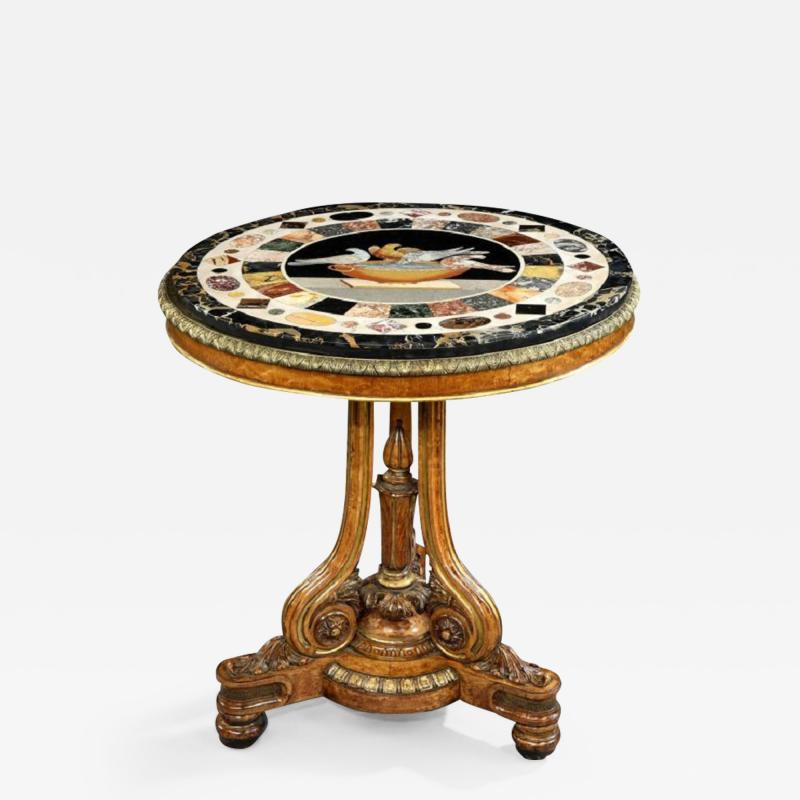 T Seddon English Antique Regency Period Centre Circular Table With Grand Tour Marble Top