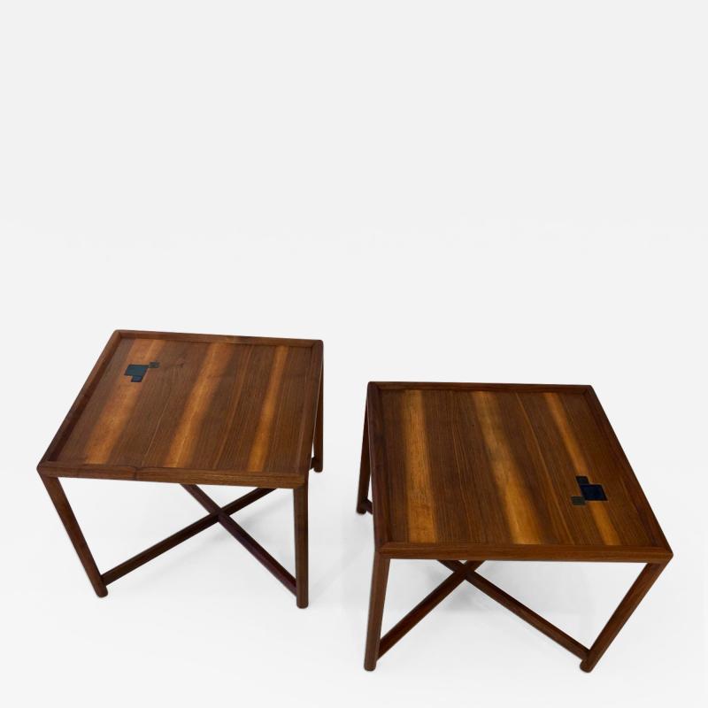 TH Robsjohn Gibbings Pair of Dunbar Janus End Tables with Tiffany Tiles