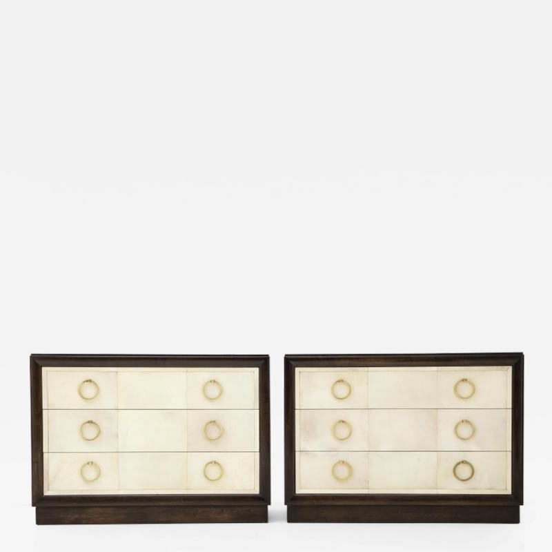 TH Robsjohn Gibbings Pair of Exquisite Parchment Dressers by T H Robsjohn Gibbings