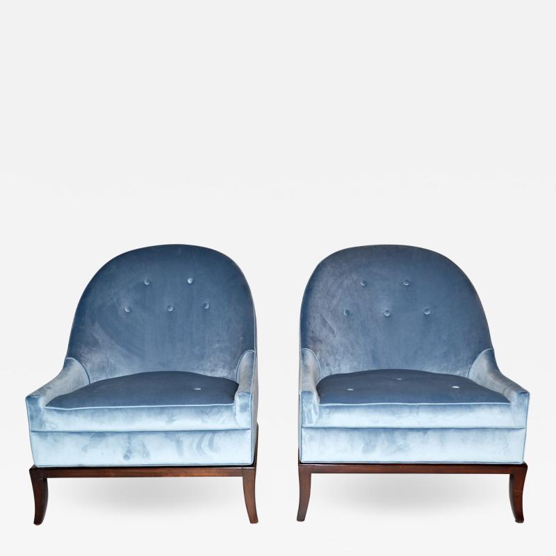 TH Robsjohn Gibbings Pair of Rare Slipper or Lounge Chairs by T H Robsjohn Gibbings for Widdicomb