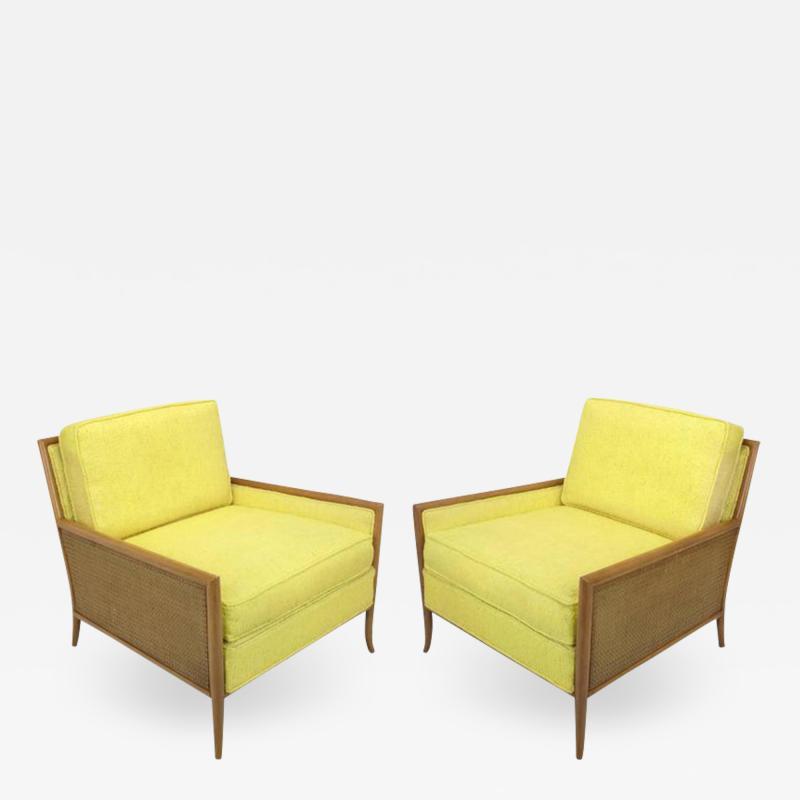 TH Robsjohn Gibbings Pair of Walnut Yellow Haitian Cotton Lounge Chairs after TH Robsjohn Gibbings