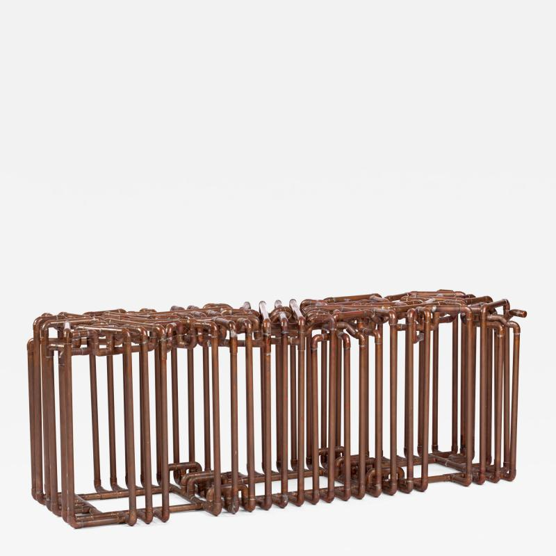 Tj Volonis Bale Bench In Copper By Tj Volonis