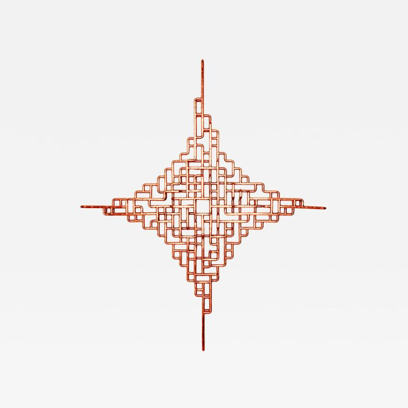 TJ Volonis Phosphoriglyph Wall Mounted Sculpture in Copper by TJ Volonis