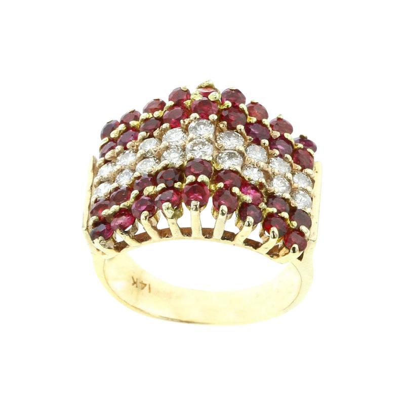 TRIANGULAR RUBY AND DIAMOND 14K YELLOW GOLD RING