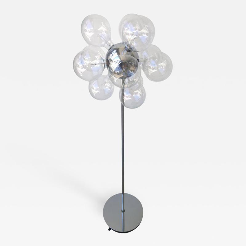 TSAO Designs Mid Century Modern TSAO Designs Chromed Steel Ten Globe Sputnik Floor Lamp