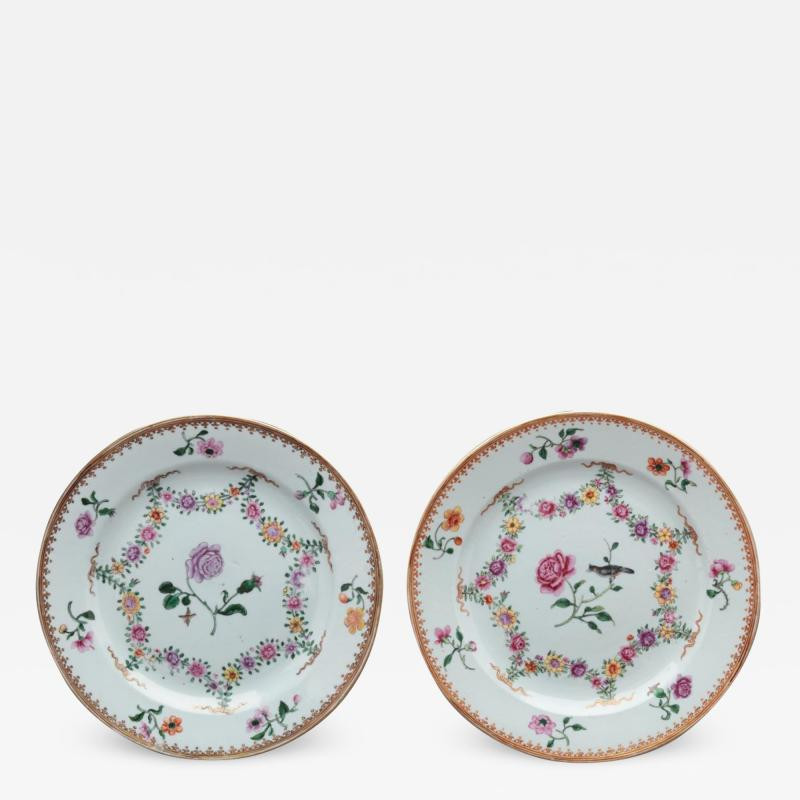 TWO NEARLY IDENTICAL CHINESE EXPORT PORCELAIN FAMILLE ROSE PLATES