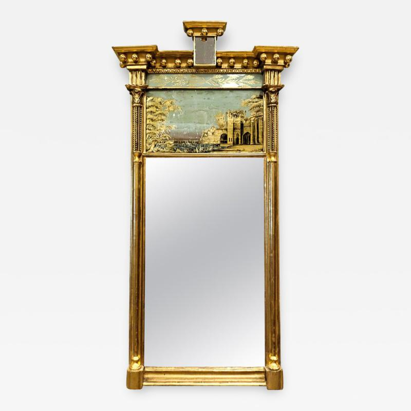 Tabernacle Form Mirror with Eglomise Panel