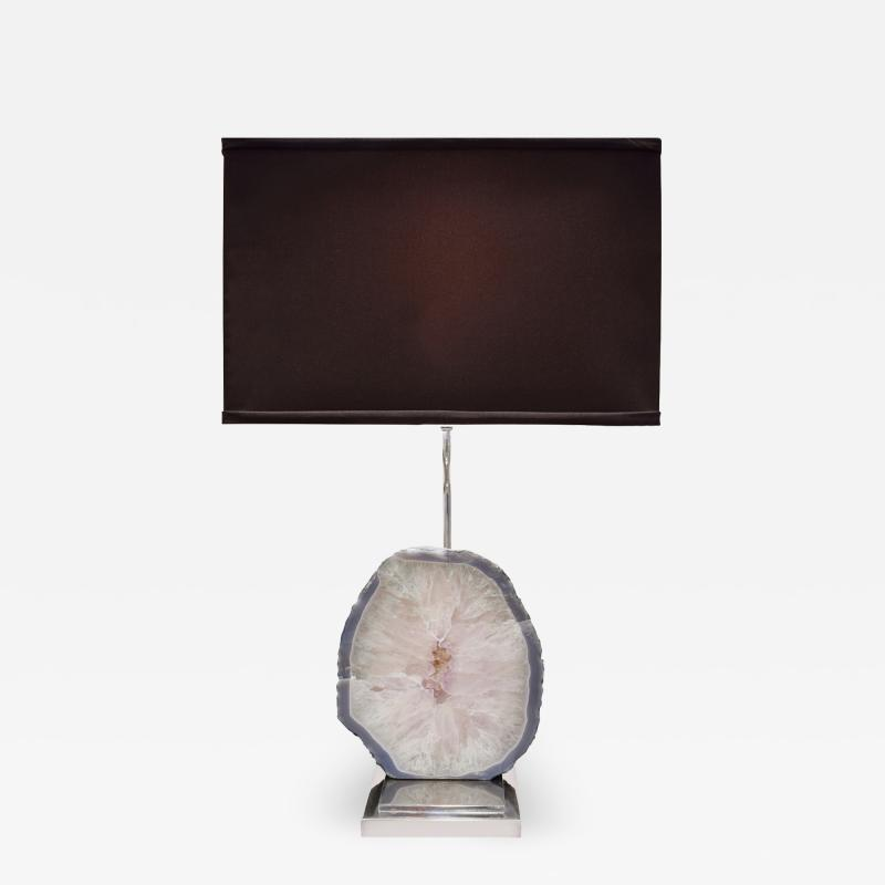 Table Lamp in Chrome with Polished Quartz Slab 1970s