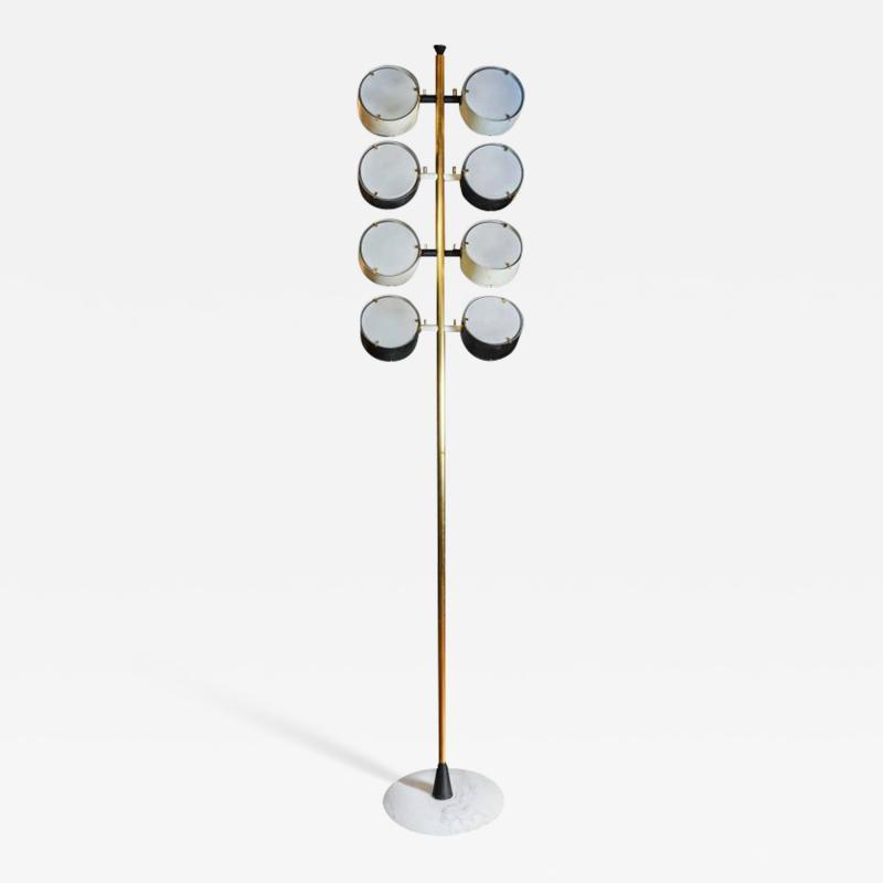 Tall Midcentury Marble Brass Metal and Plexiglass Six Lights Floor Lamp