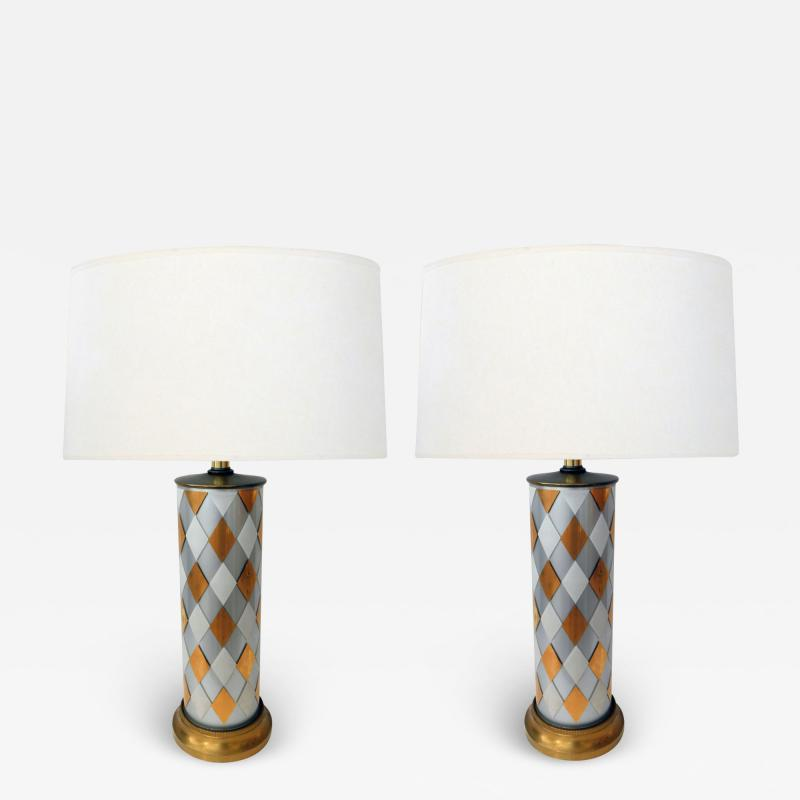 Tall Pair of American 1960s Cylindrical form Harlequin Cased Glass Lamps