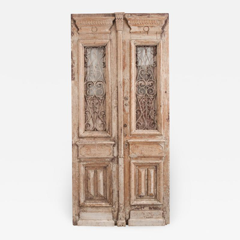 Tall Pair of Napoleon III Style Painted Pine and Iron Exterior Doors