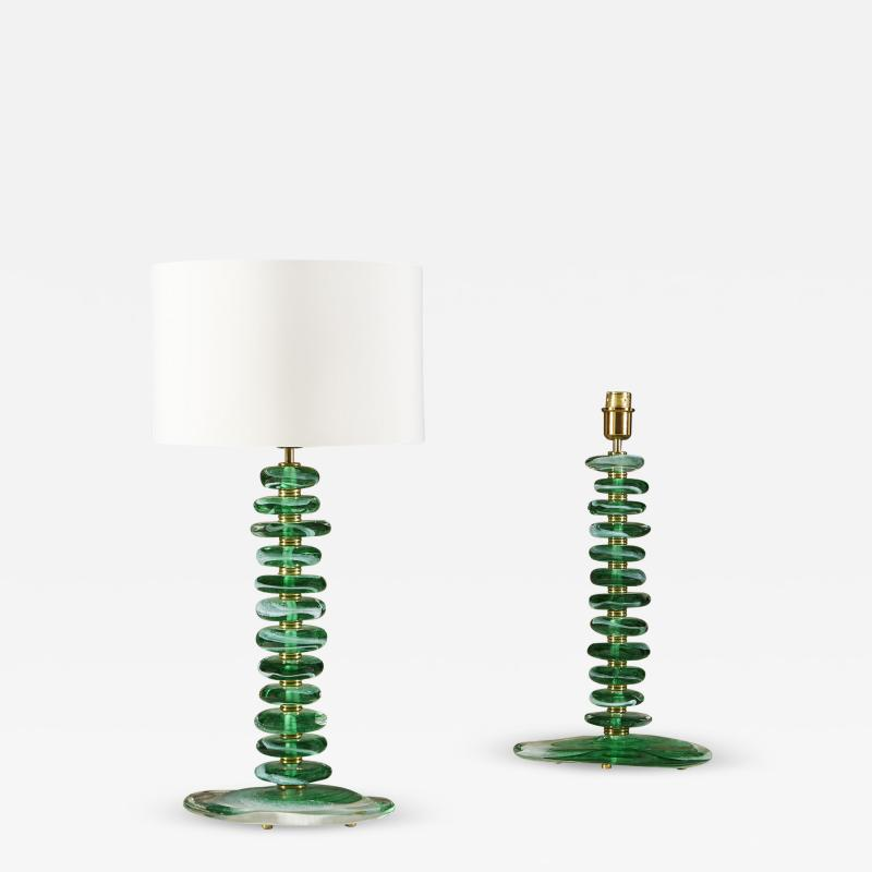 Tall pair of Italian Murano green glass Pebble lamps