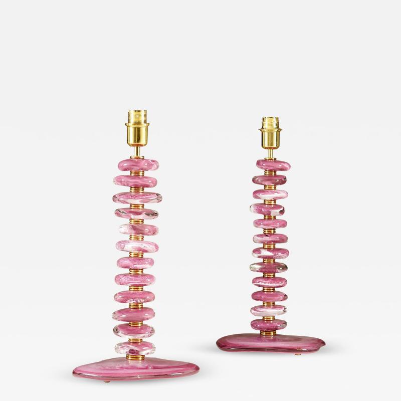 Tall pair of Italian Murano pink purple glass Pebble lamps